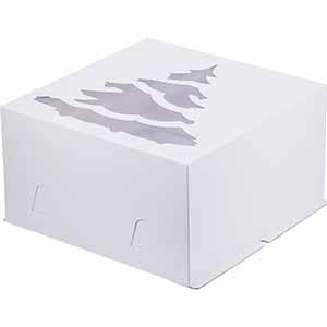 Короб для торта  с окном Ёлка 300x300x190