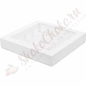 Коробка для конфет с крышкой белая (На 16 конфет)