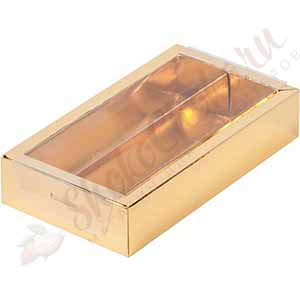 Коробка для конфет с прозрачной крышкой золотая (На 8 конфет)