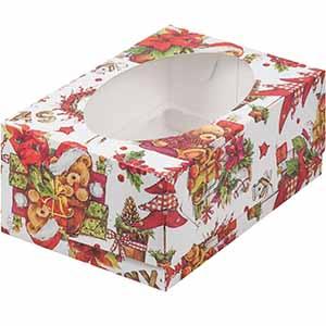 Коробка для Капкейков Новый год 6 (235x160x100)