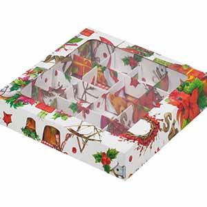 Коробка для конфет с крышкой Новый год (На 16 конфет)