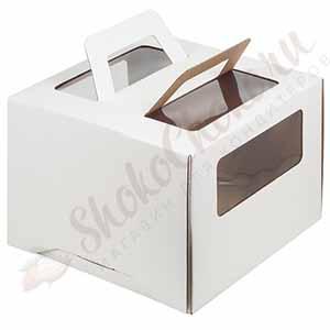 Короб для торта с ручкой и окошком 280x280x200