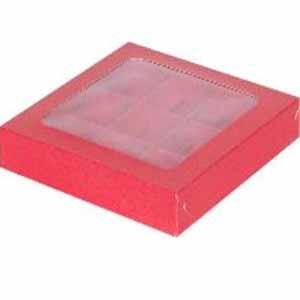 Коробка для конфет с крышкой красная (На 9 конфет)